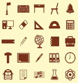 School color icons on brown background vector image
