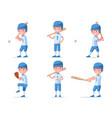 set boy baseball player in sports uniform vector image vector image