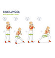 side lunges with resistance band girl silhouettes vector image vector image