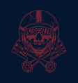 skull in racer helmet and crossed pistons design vector image vector image