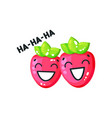 smiling bright glossy strawberries cute characters vector image