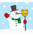 Snowman Holding A Broom And Waving In The Snow vector image vector image