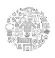 time to hygge hand drawn doodle icons set vector image vector image