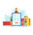 tiny customers ordering and buying goods using vector image