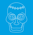 trepanation skull of zombie icon outline style vector image vector image
