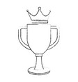 trophy cup with crown championship award vector image vector image
