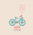 valentines poster with balloons bicycle card vector image vector image