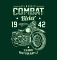 vintage american military motorcycle vector image vector image