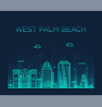 west palm beach skyline florida usa linear vector image vector image