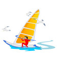 windsurfing water extreme sports isolated design vector image vector image
