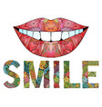 word smile with silhouette of lips vector image