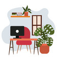 workspace desk computer chair potted plant shelf vector image vector image