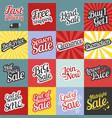 big set of typographic for sale and promotion vector image
