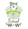 back to school logo element in green colors with vector image