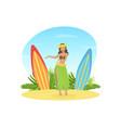 beautiful hawaiian young woman in traditional vector image vector image