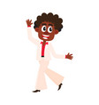 black african american man in retro white suit vector image vector image