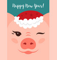 Cartoon pig wink happy new year 2019 greeting