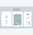 christmas cute greeting cards or postcards vector image vector image
