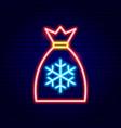 christmas santa bag neon sign vector image