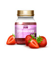 closeup glass jar with strawberry jam and berries vector image