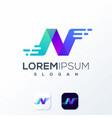 colorful technology logo design idea vector image vector image