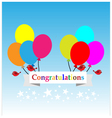 Congratulations sign has balloons and brids vector image vector image