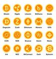 cryptocurrency types icons set flat style vector image