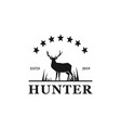 deer hunter badge logo design vector image vector image