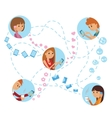 Flat style young people faces online social media vector image vector image