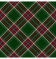 Green red diagonal check plaid seamless pattern vector image vector image