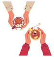 hands holding cups with warm drinks flat cartoon vector image