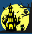 happy halloween helluinsky black cat sits next to vector image