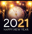 happy new 2021 year background with clock vector image vector image