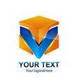 initial letter v logo template colored orang blue vector image vector image