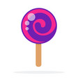 lilac round lollipop swirl on stick flat isolated vector image vector image