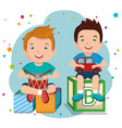 little boys playing with toys characters vector image vector image