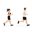 man and woman in sportswear are running vector image