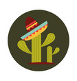 mexican hat on cactus decoration block and flat vector image vector image