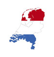 netherlands country silhouette with flag on vector image