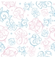 Pink Blue Pastel Floral Swirls Seamless vector image