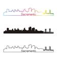 Sacramento skyline linear style with rainbow vector image vector image