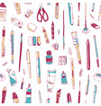 seamless pattern with stationery drawing utensils vector image vector image