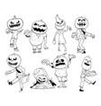 set cute hand drawing halloween pumpkin zombie vector image vector image