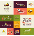 set flat design signs for food and drink vector image
