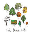 Set of hand drawn colorful trees Ink style vector image vector image