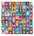 set people icons in flat style with faces 09 b vector image vector image