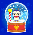snow globe penguin vector image