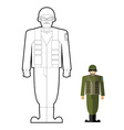Soldiers coloring book Military clothing helmet vector image vector image
