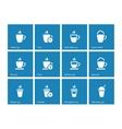 Tea mug icons on blue background vector image vector image