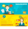 Translation and dictionary banners set flat vector image vector image